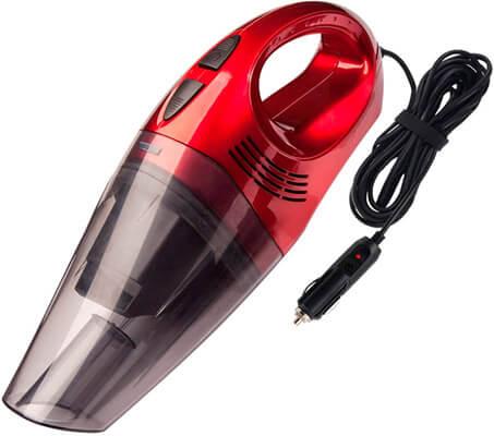 Aspirador para coche de color rojo con cable mechero